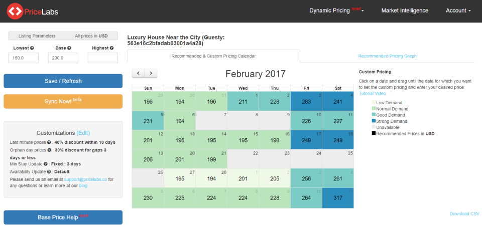 Review the price calendar with color-coding to indicate dates of high and low demand