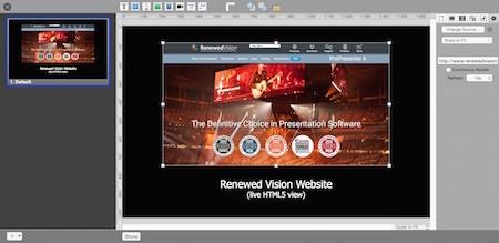ProPresenter HTML5 support/web object screenshot