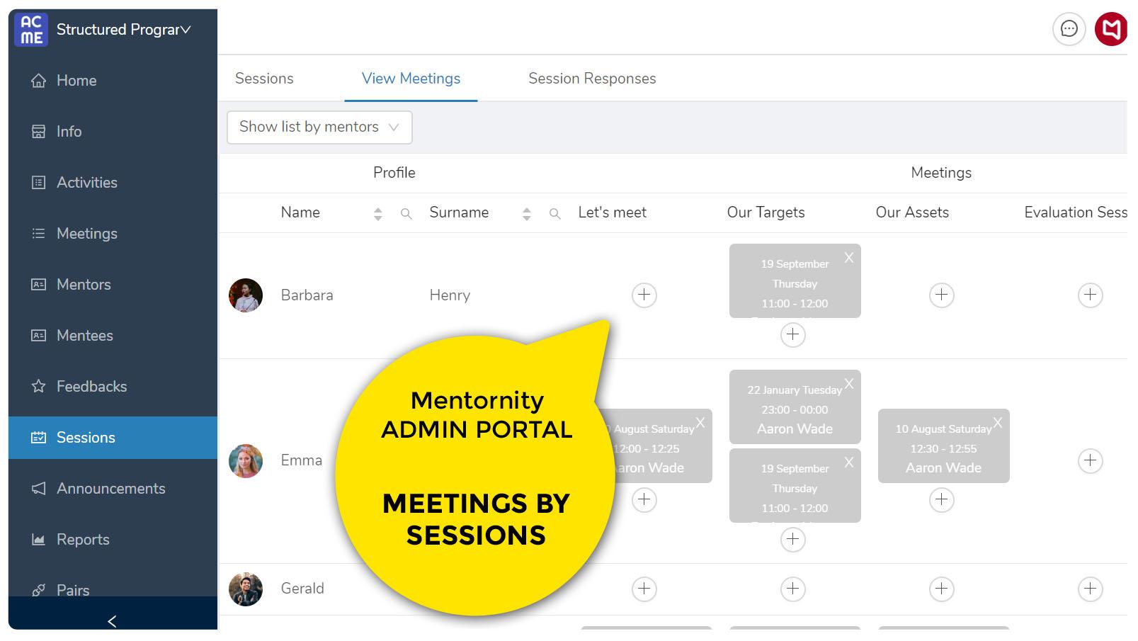 Mentornity Admin View Meetings