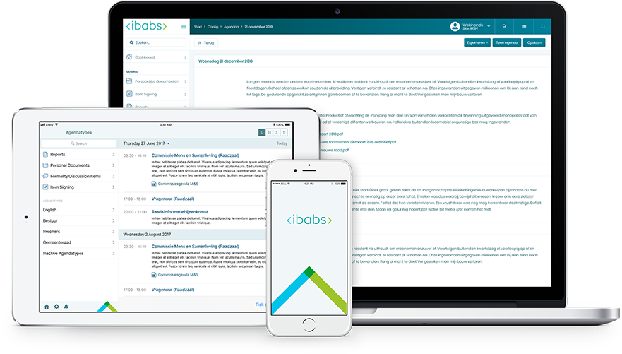 iBabs screenshot: iBabs provides users with access to meeting documents from any device