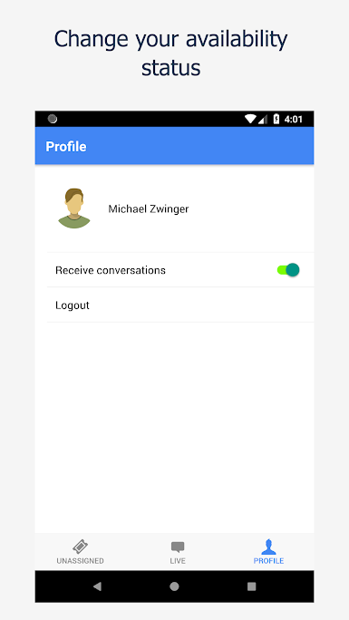 Agents can update their availability status at any time to allow or defer new conversations