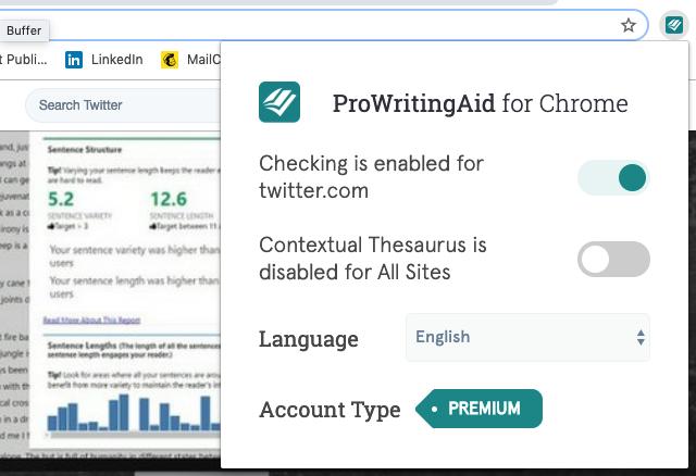 ProWritingAid Google Chrome extension