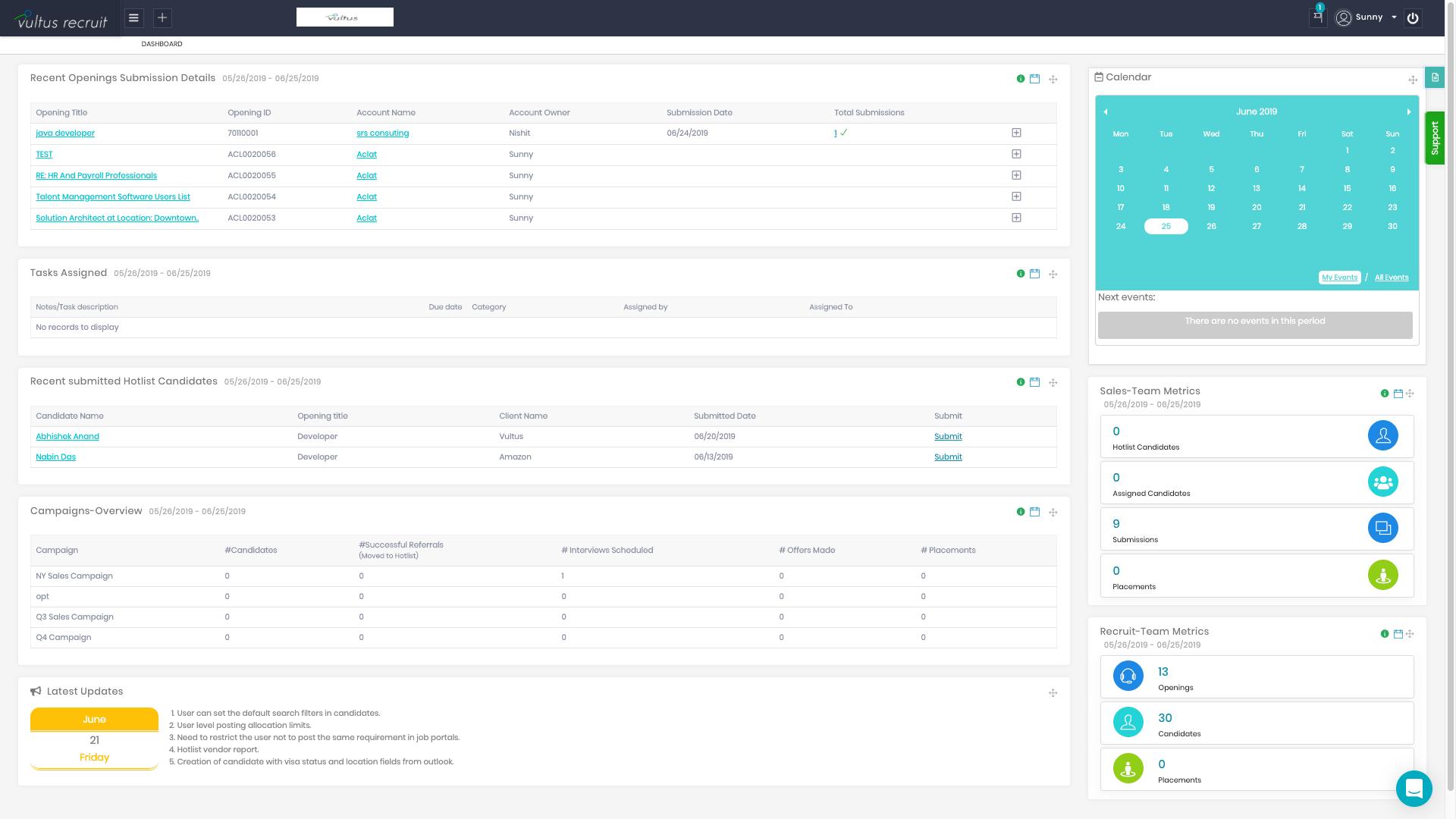 Vultus Recruit screenshot: Vultus Recruit dashboard screenshot