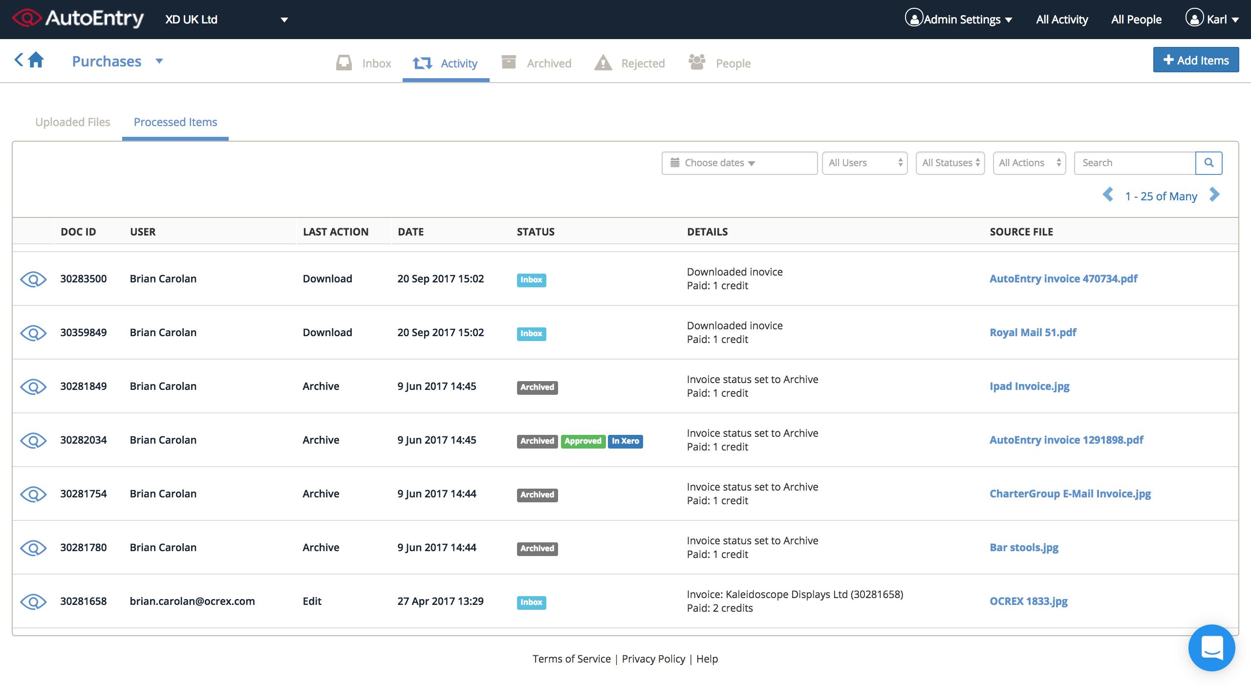AutoEntry Software - AutoEntry Processed Items