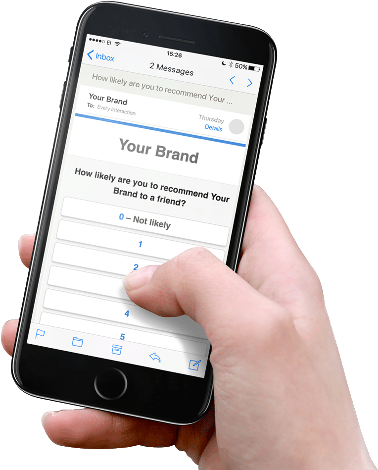 Surveys can be customized and sent directly to customer's email inbox