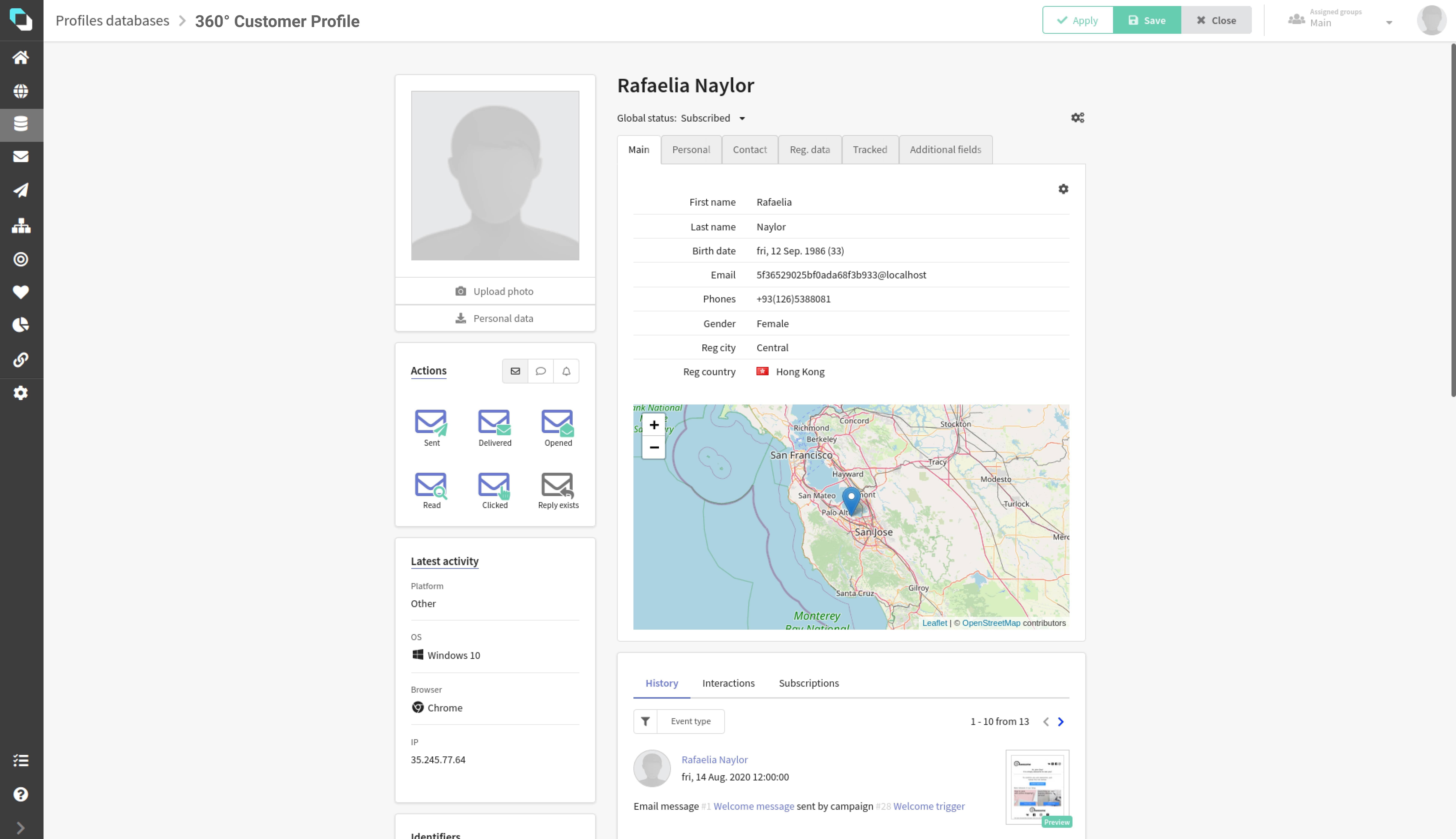 ALTKRAFT screenshot: 360 Customer Profile
