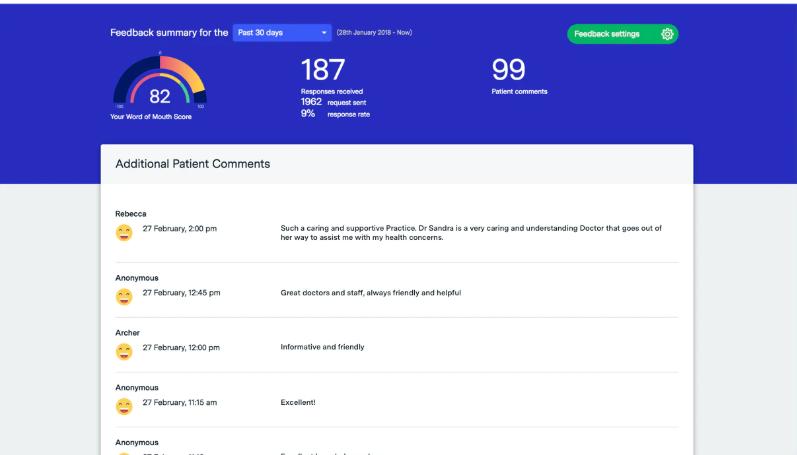 HealthEngine feedback dashboard