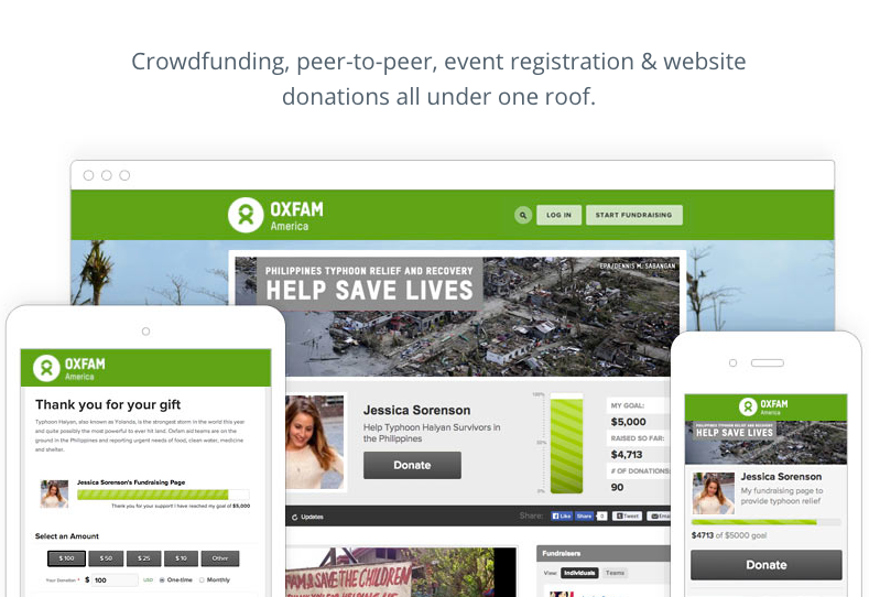 All-in-one fundraising across crowdfunding, peer-to-peer, event registration and website donations