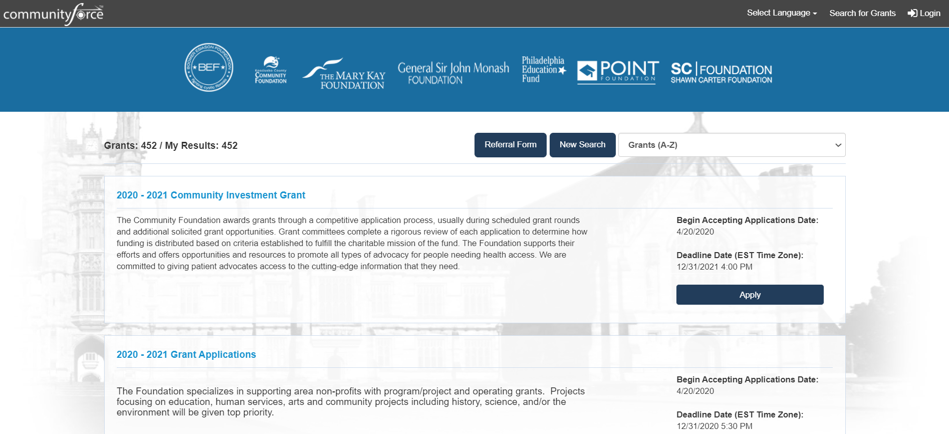 Listings Page - Active directory of all available grant programs