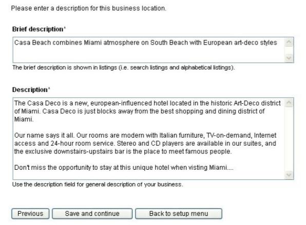 WebReserv Software - WebReserv adding description screenshot