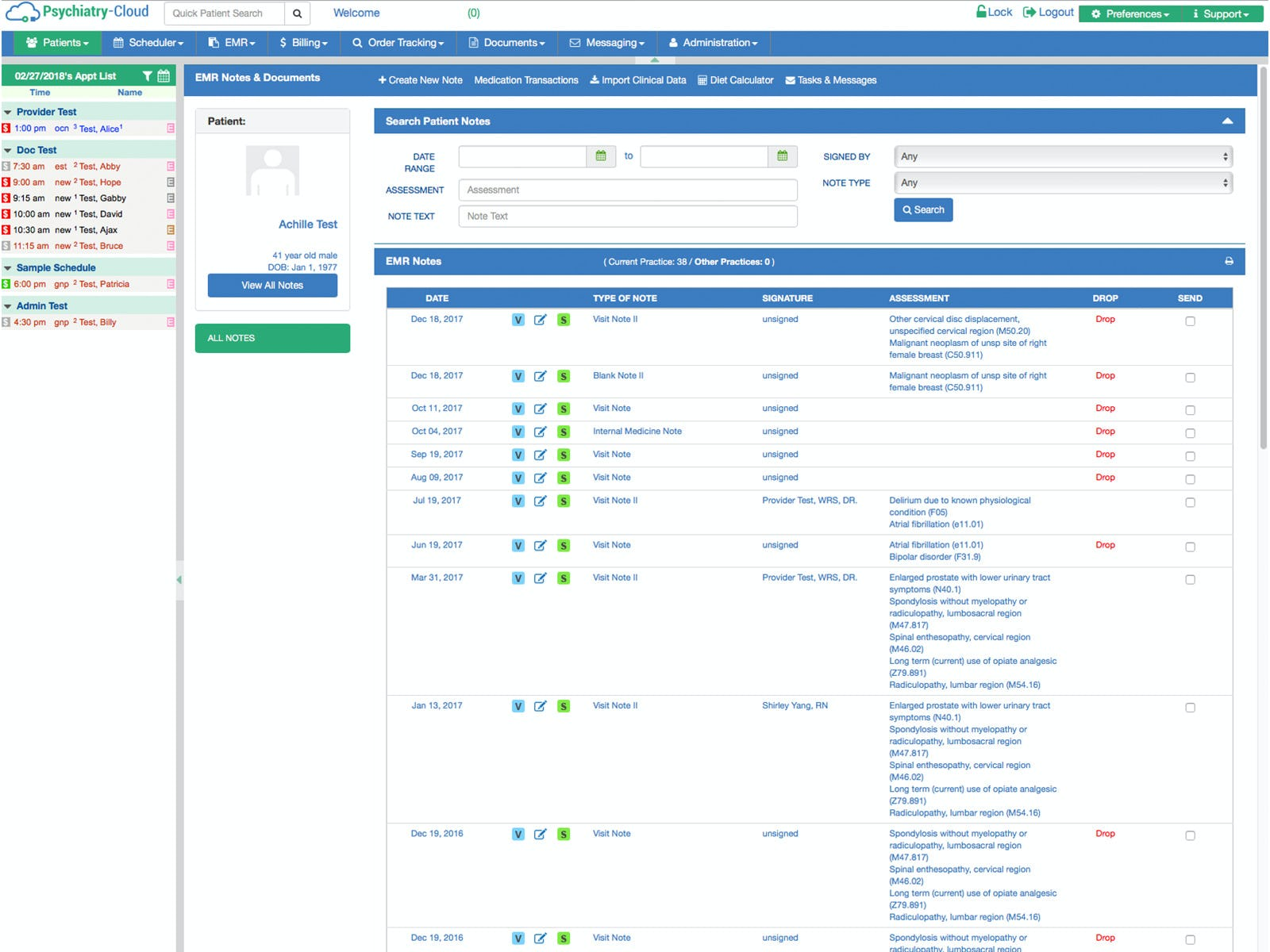 Psychiatry-Cloud Software - EMR notes and documents