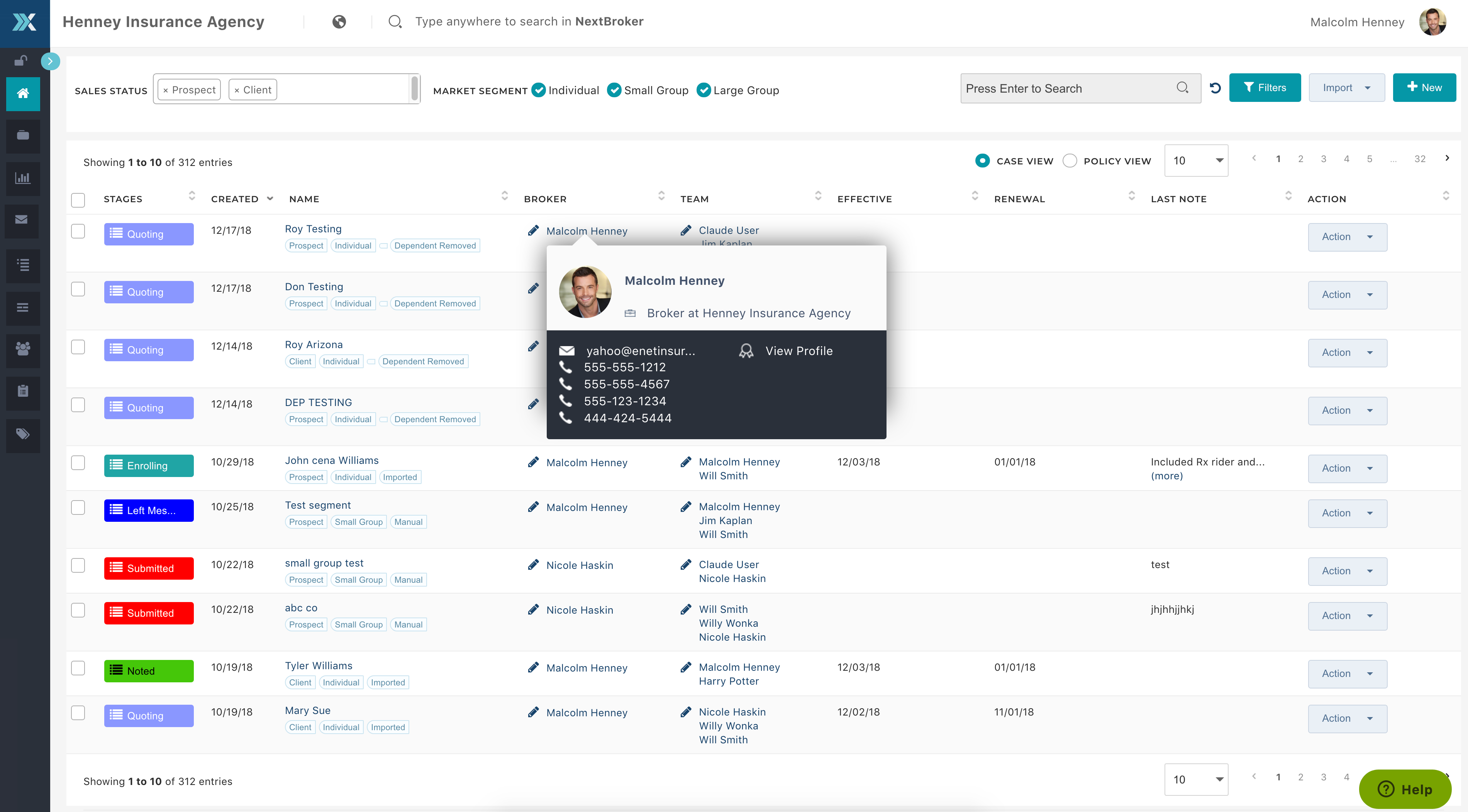 NextAgency screenshot: Use CRM tools to automate sales and marketing processes and track prospects and clients