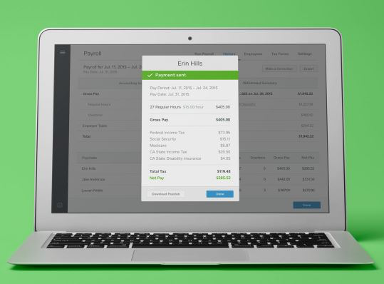 Square Payroll screenshot: Access payment details via Square's web based interface