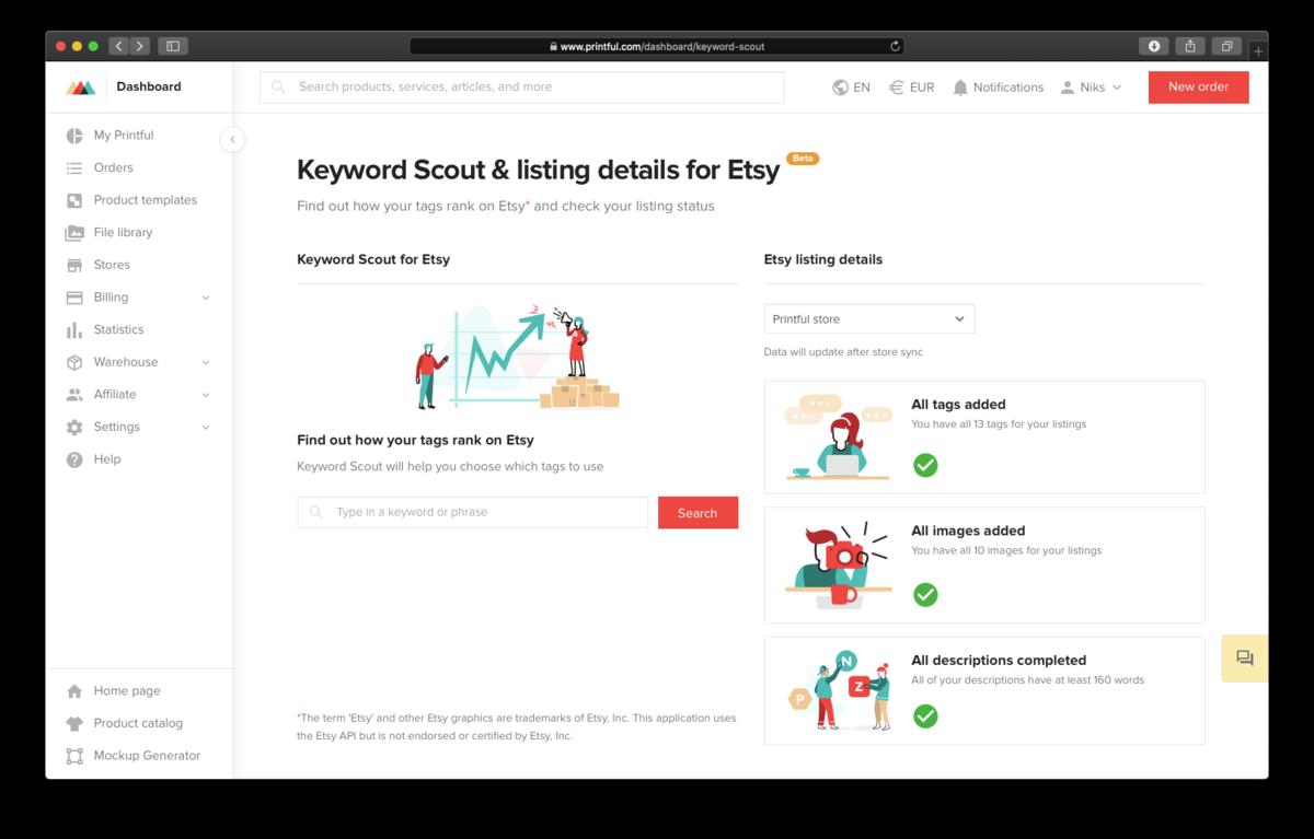 Printful keyword searching and edit listing details