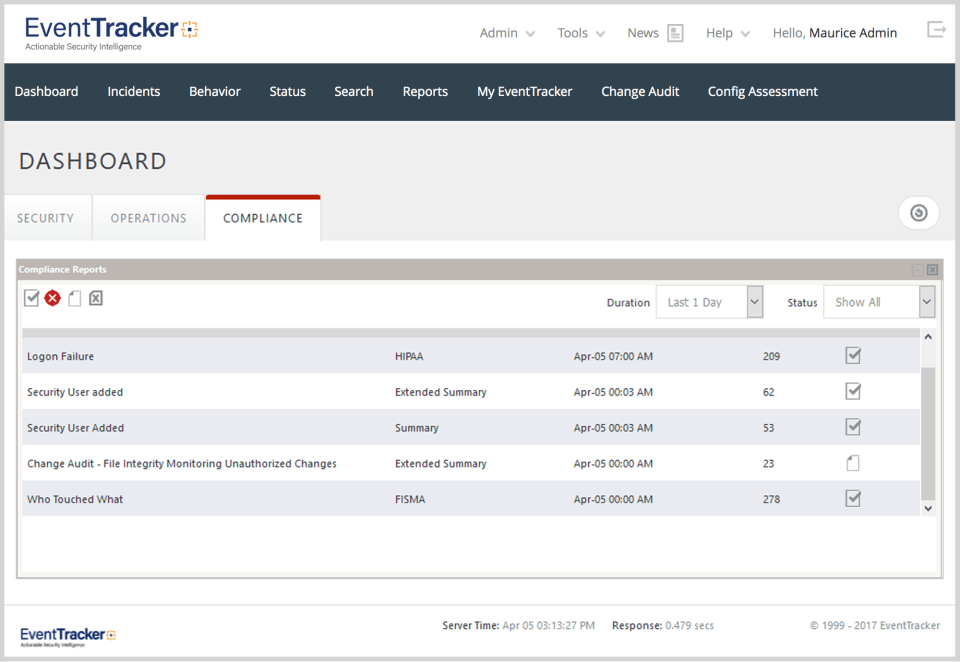 Netsurion Managed Threat Protection Software - EventTracker compliance dashboard