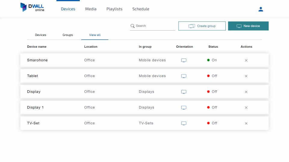 DWALL.online device management screenshot