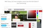 Classy screenshot: Take total control over fundraising campaign identity with customizable styling and branding