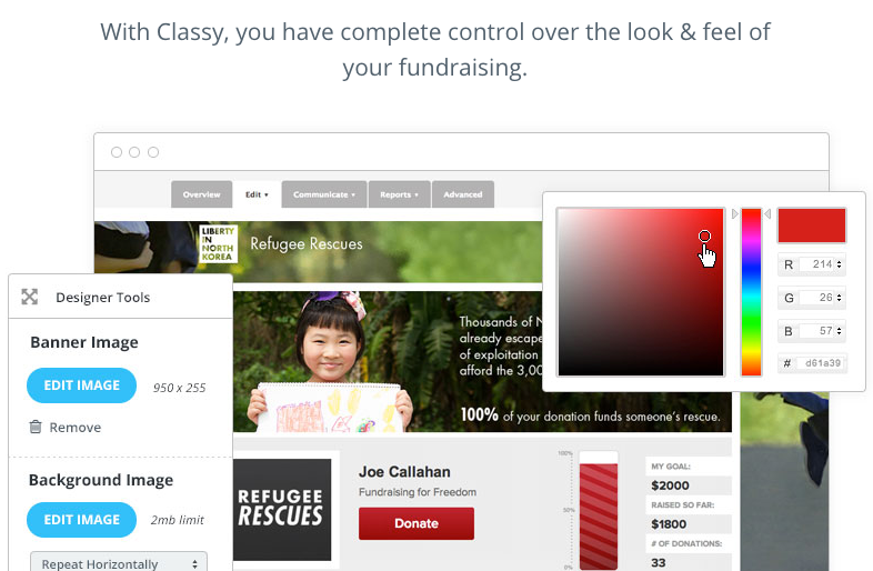 Take total control over fundraising campaign identity with customizable styling and branding