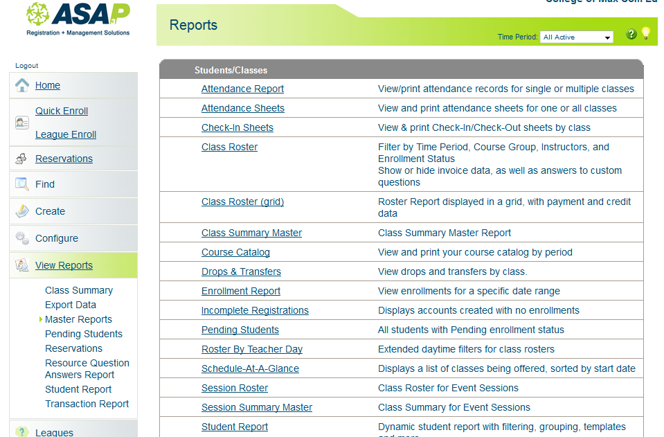 ASAP Software - Reports page