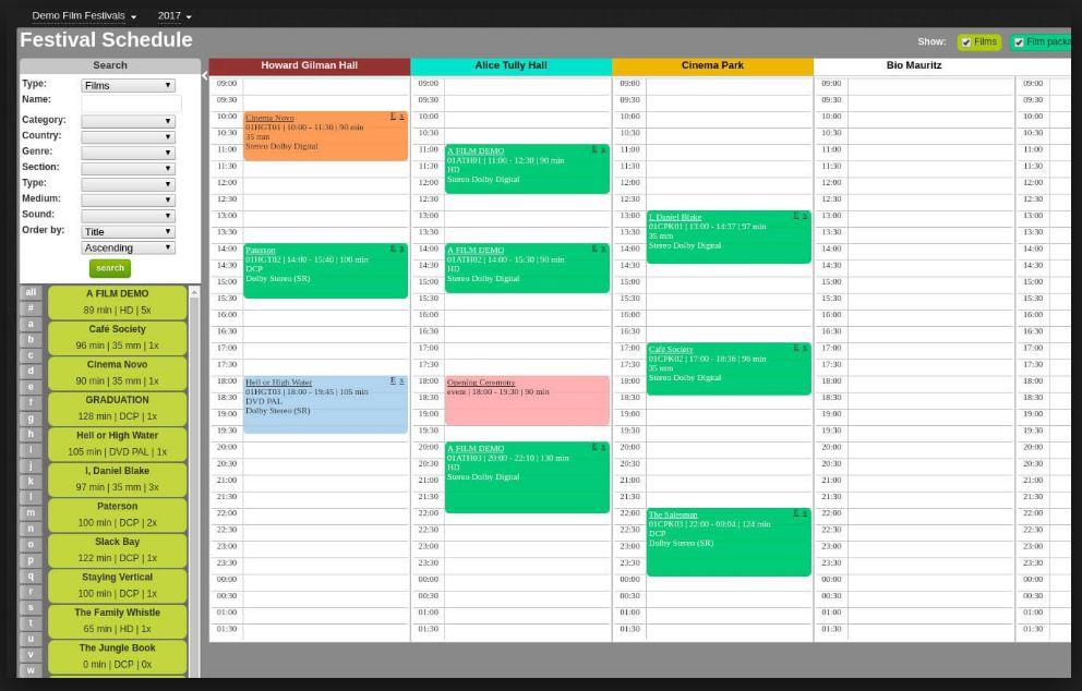 Festival schedule