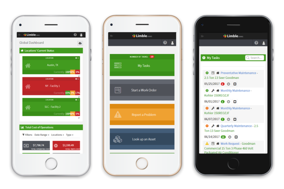 Limble CMMS Software - A mobile CMMS for a mobile workforce: WO's, PM's, and your equipment's entire work history at your fingertips no matter where you are. Instant updates and notifications, speech to text, spare part inventory, and QR codes for easy work request submissions.