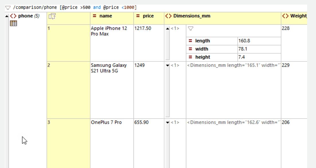 XMLSpy XML Grid View