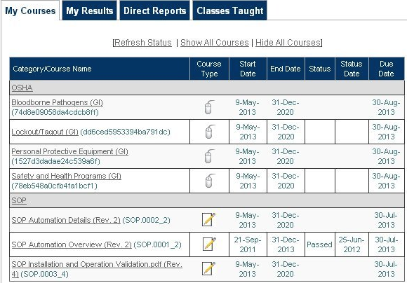 SyberWorks Training Center Software - My courses tab