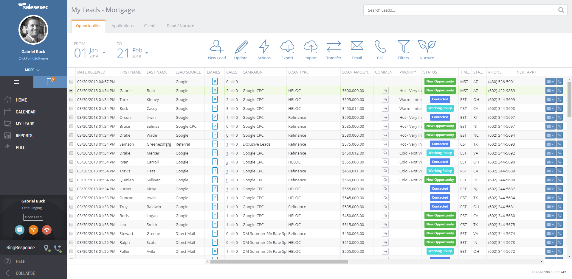 ClickPoint lead management screenshot