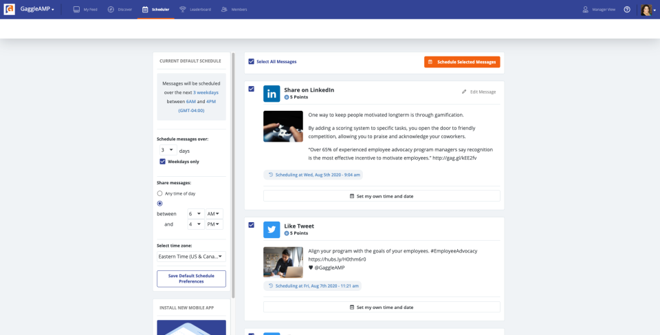 The scheduling feature helps your employees and stakeholders schedule their social media advocacy efforts on their time. Here they can pick and choose messages they want to schedule, when they want to schedule them, their default preferences, and more.