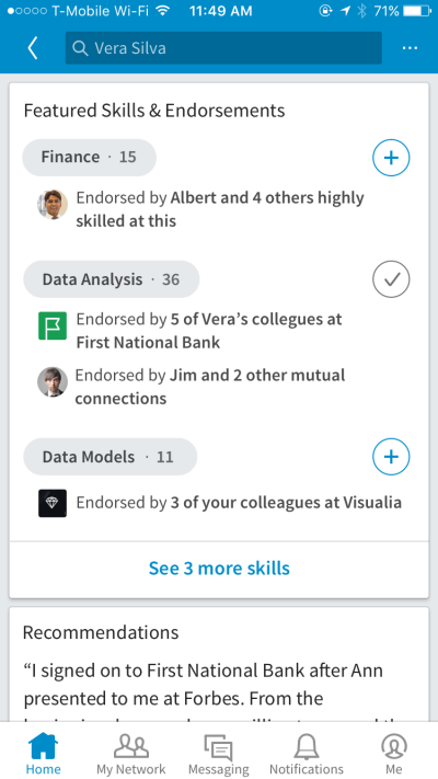 List skills, and collect and showcase endorsements from other users