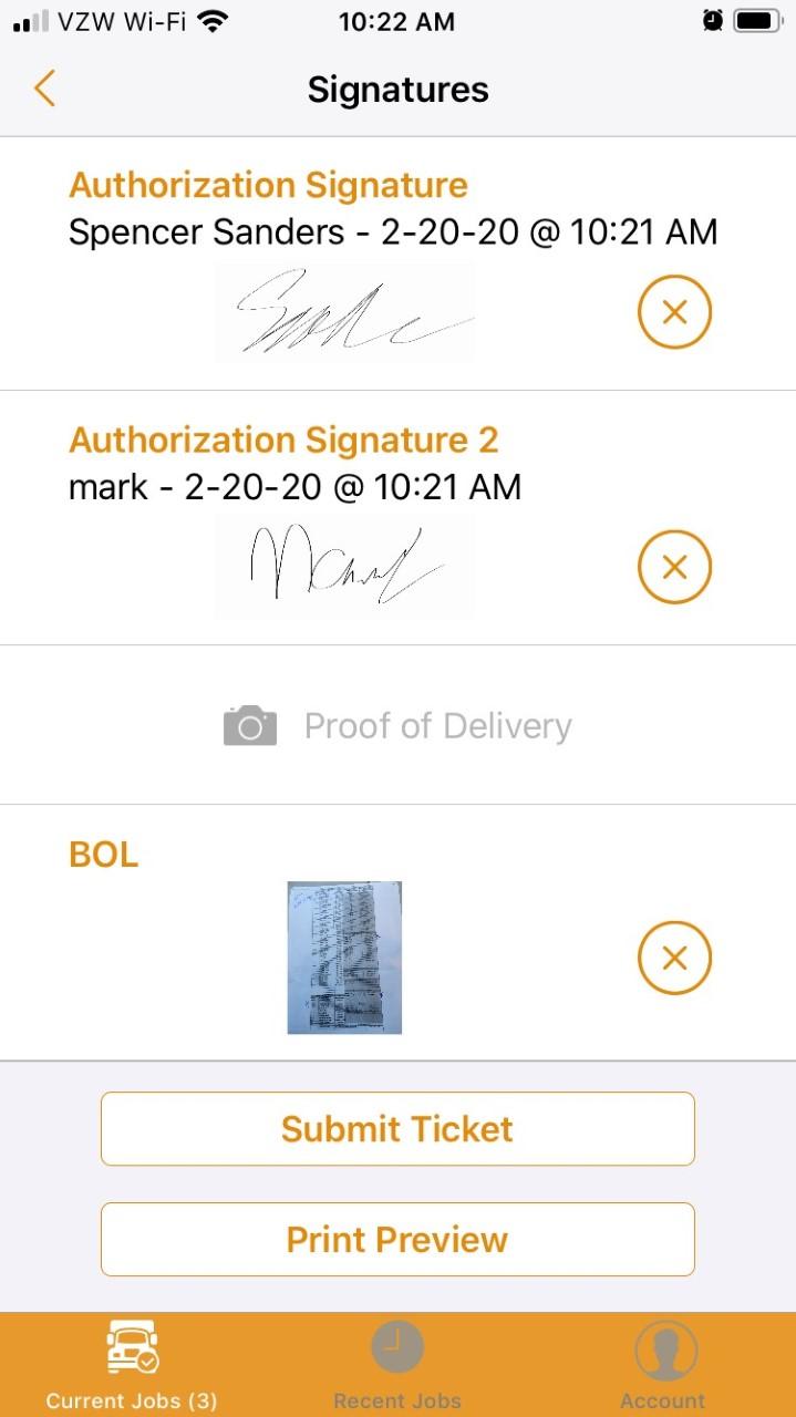 Oil command mobile signature