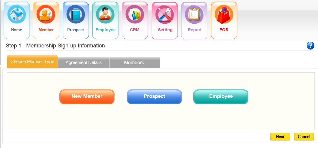 Members, prospects and employees can all be registered in iGo Figure