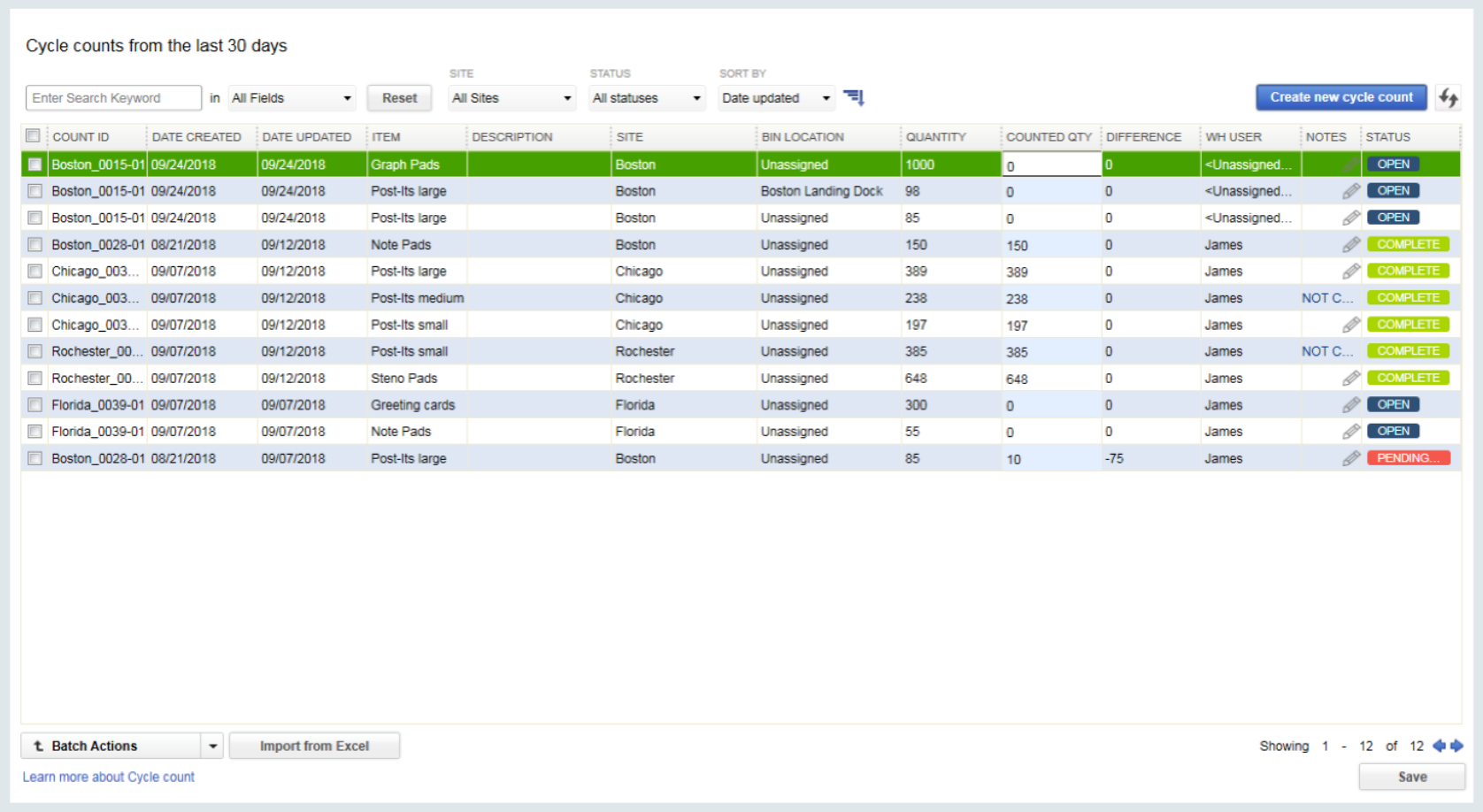 Cycle count allows users to scan and upload inventory counts for multiple warehouses