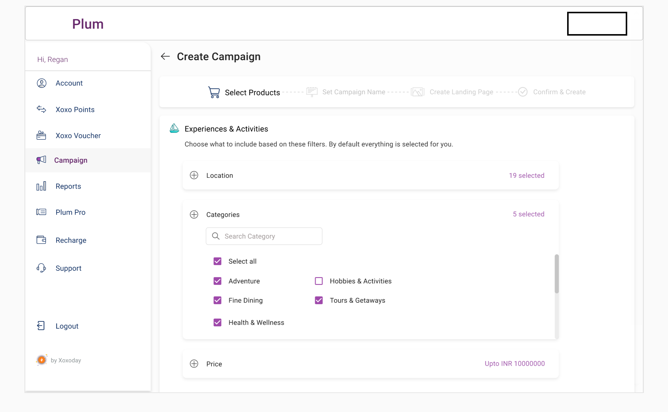 Xoxoday Plum Software - Xoxoday Plum campaigns