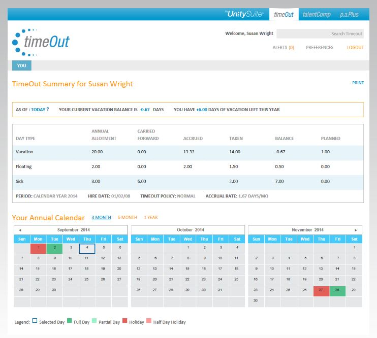 TimeOut screenshot: Matrix displaying the summary of employees' available holidays