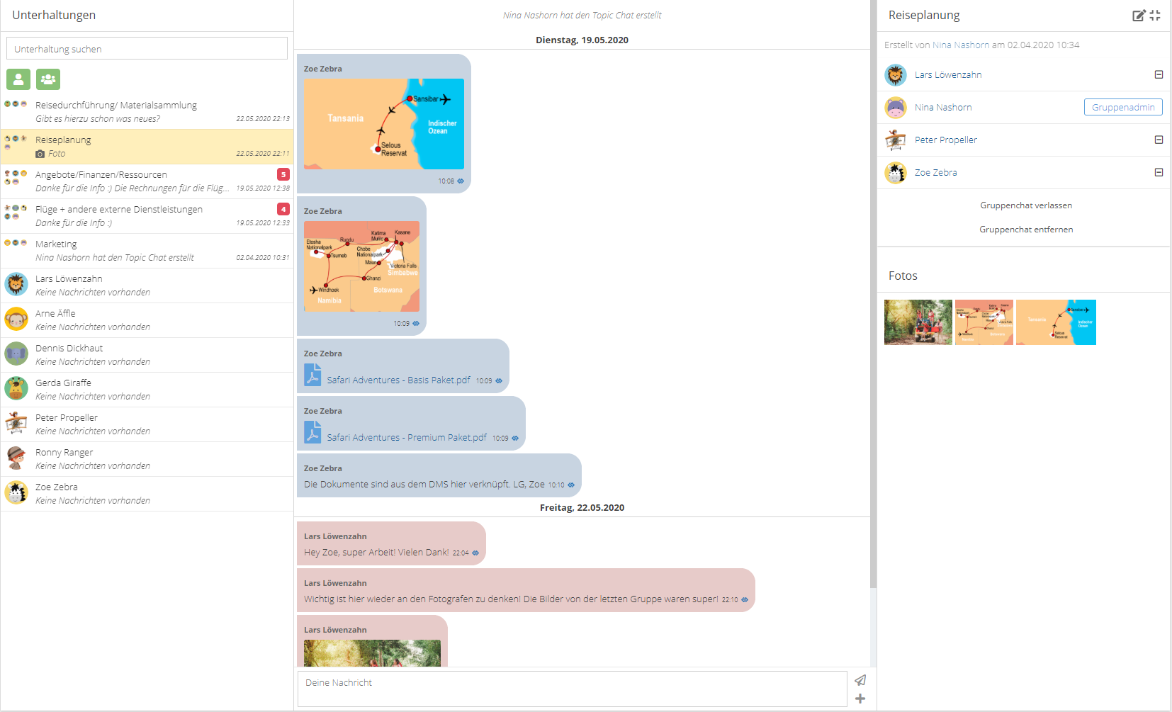 Stay in contact with your colleagues through the integrated messenger which is also available in the app. You'll receive a popup for every message.