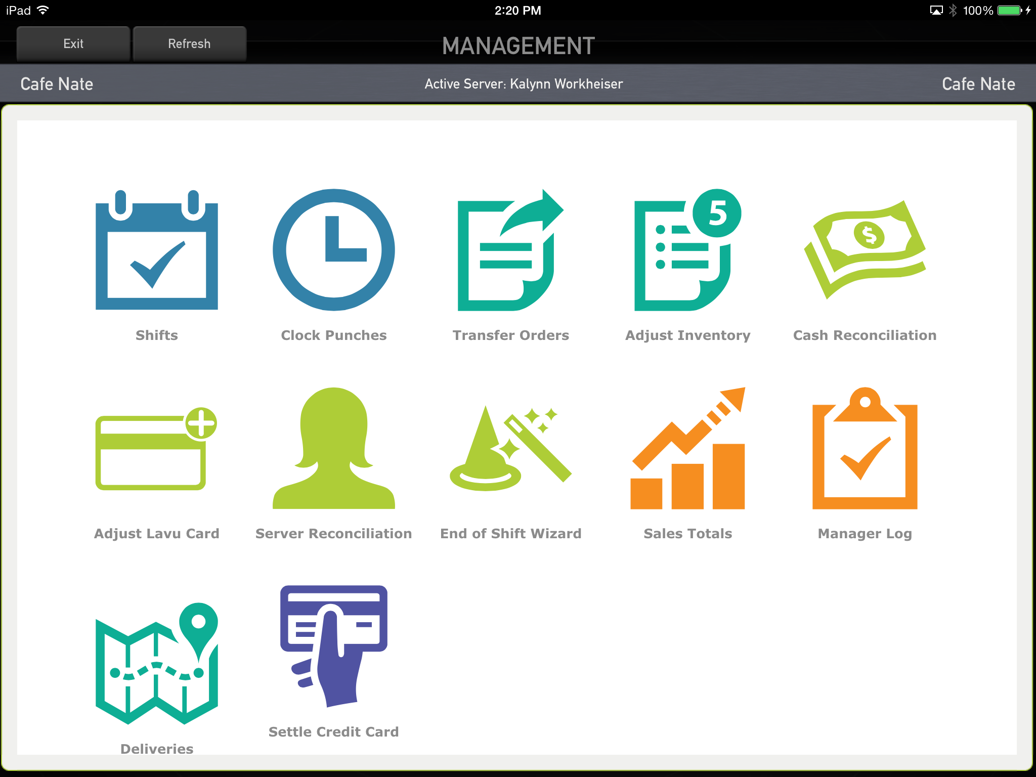 Lavu POS Software - Management controls employee access to functions.