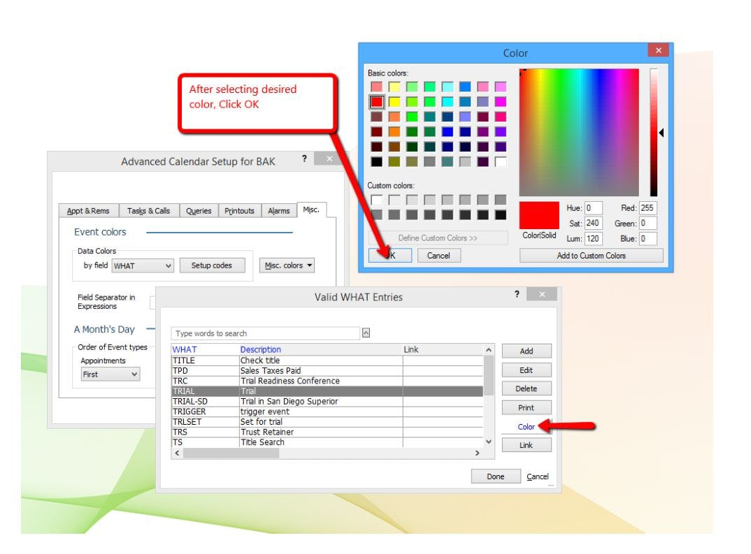 Abacus Private Cloud Software - Abacus Private Cloud color coding calendar