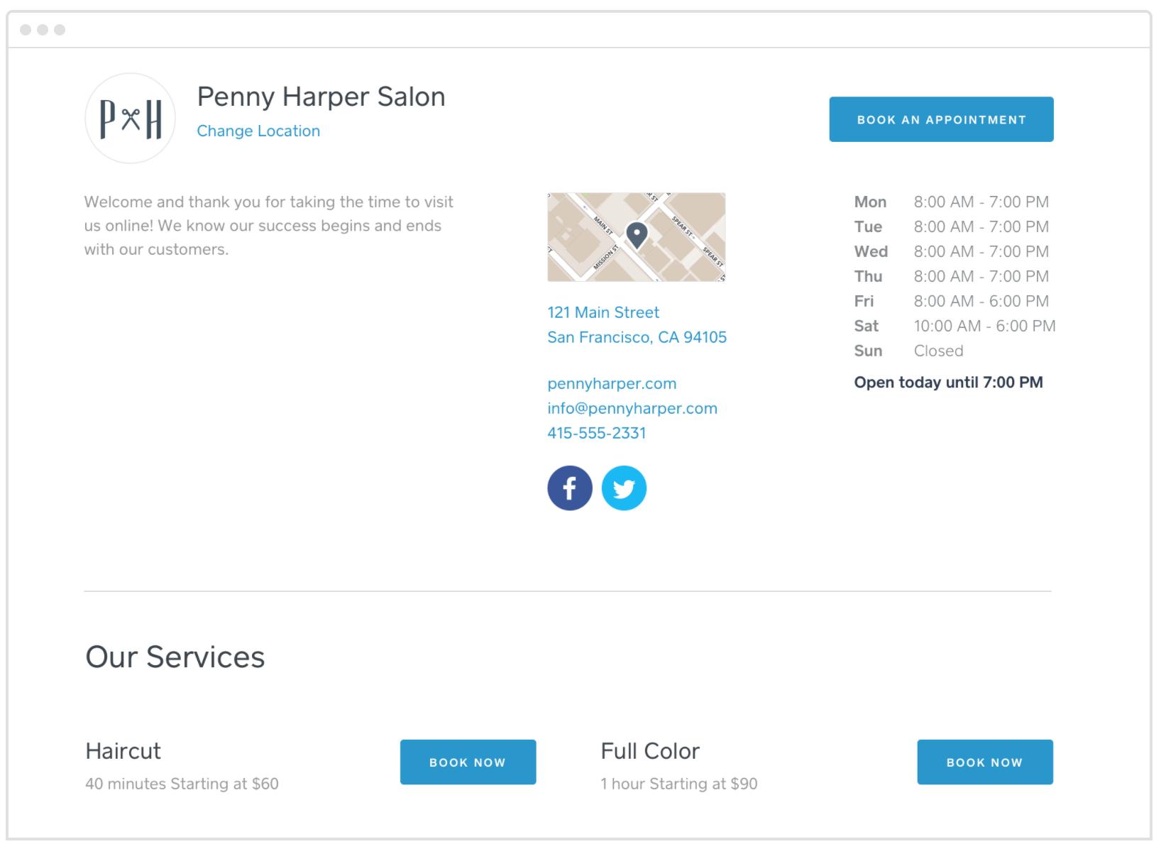 Let clients book appointments online 24/7