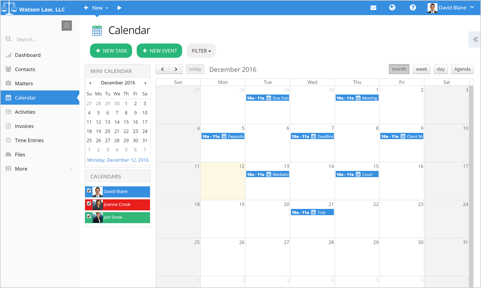 PracticePanther Legal Software Software - PracticePanther calendar