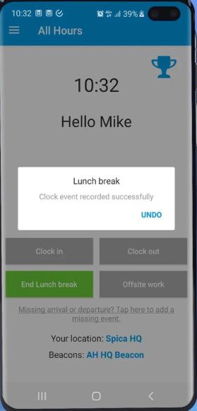 All Hours screenshot: All Hours break clock-in