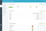9teams screenshot: The project dashboard allows for follow-up of top level status indicators progress, time, budget and scope (incl. comments) - milestones - work packages - open and overdue tasks per owner