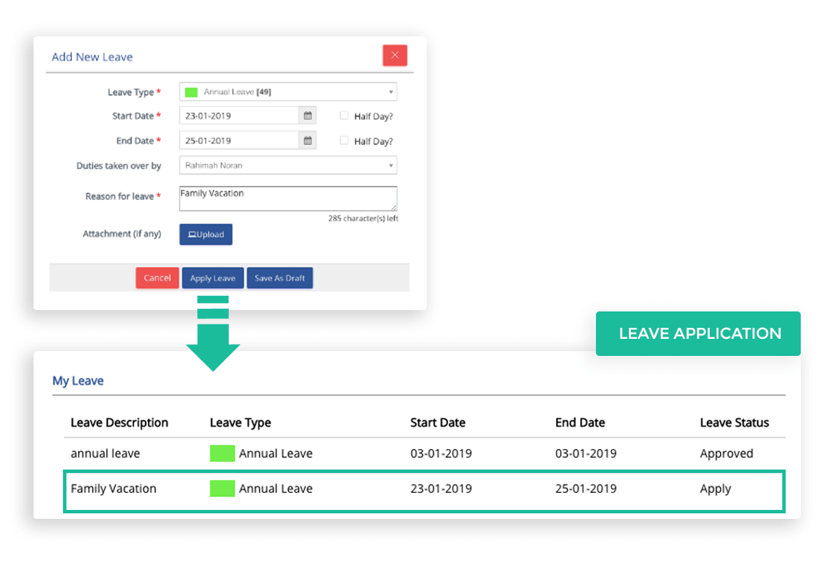 Second CRM allows easy submission of staff leave, along with uploading required documents, no more hard copies needed. The system automatically directs their reporting manager to approve or reject with a single click.