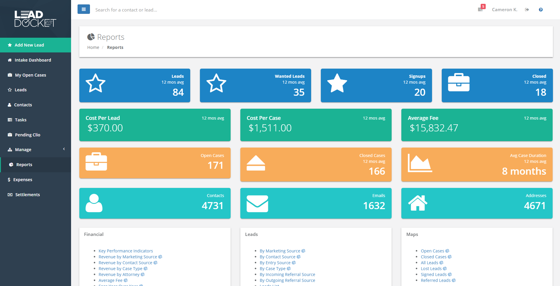 Lead Docket Software - Customize reports to create a home screen dashboard that instantly shows you the metrics that matter for your business growth.
