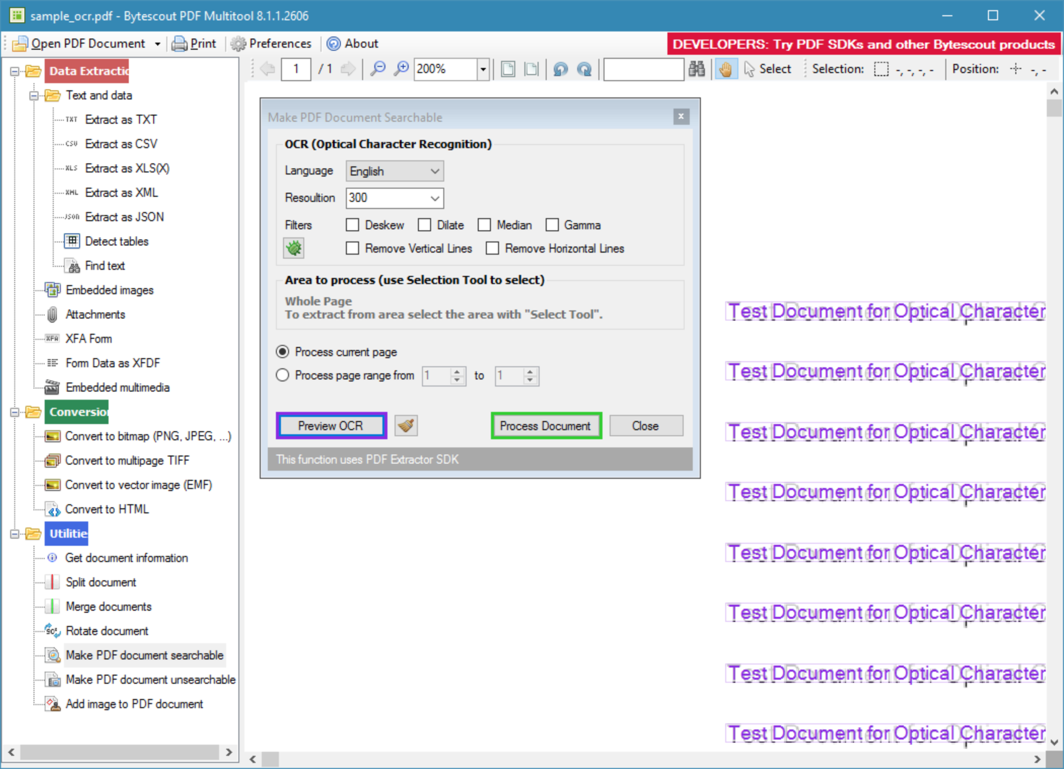 PDF Extractor successfully converts PDF documents regardless of the different type of characters