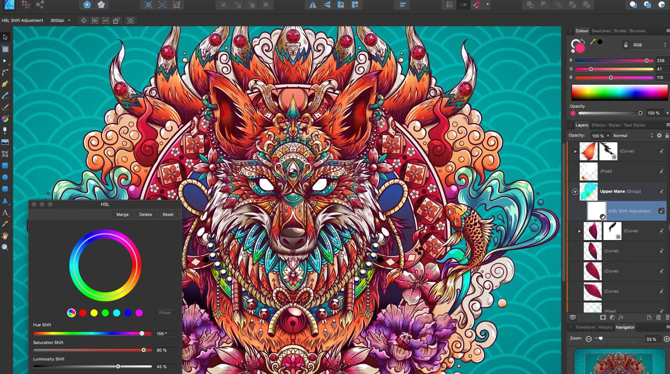Affinity Designer adjustment layers