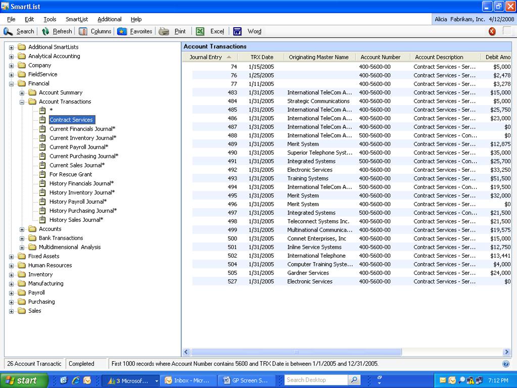 Microsoft Dynamics GP Software - Account transactions