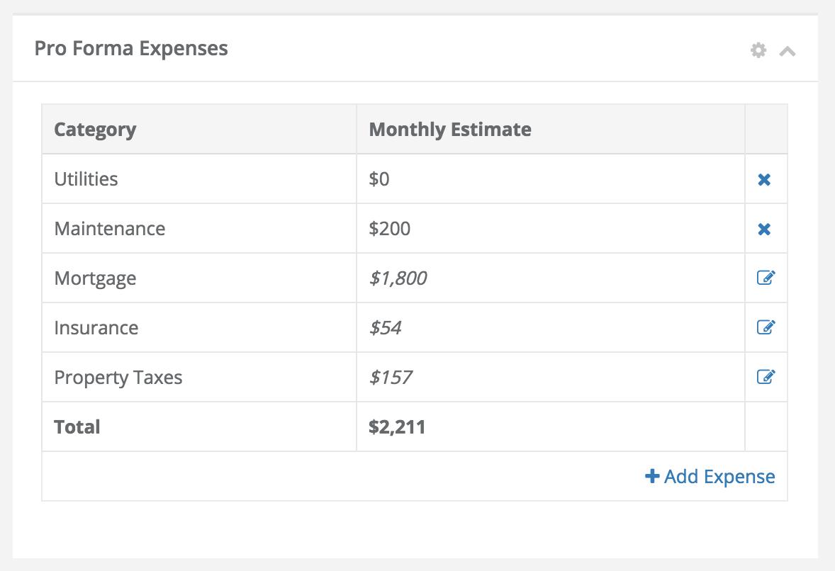 Stessa's Pro Forma expenses dashboard