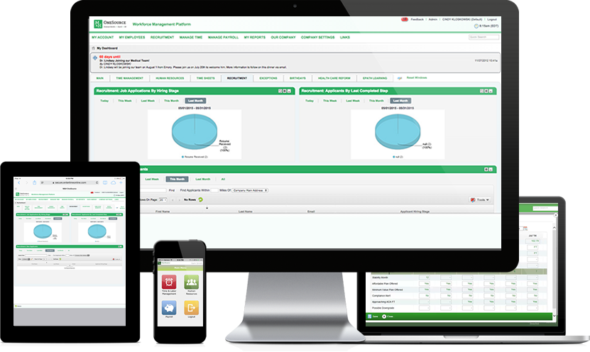 With OneSource, employers can manage hiring, onboarding, time tracking, employee benefits, payroll and more, from one central platform
