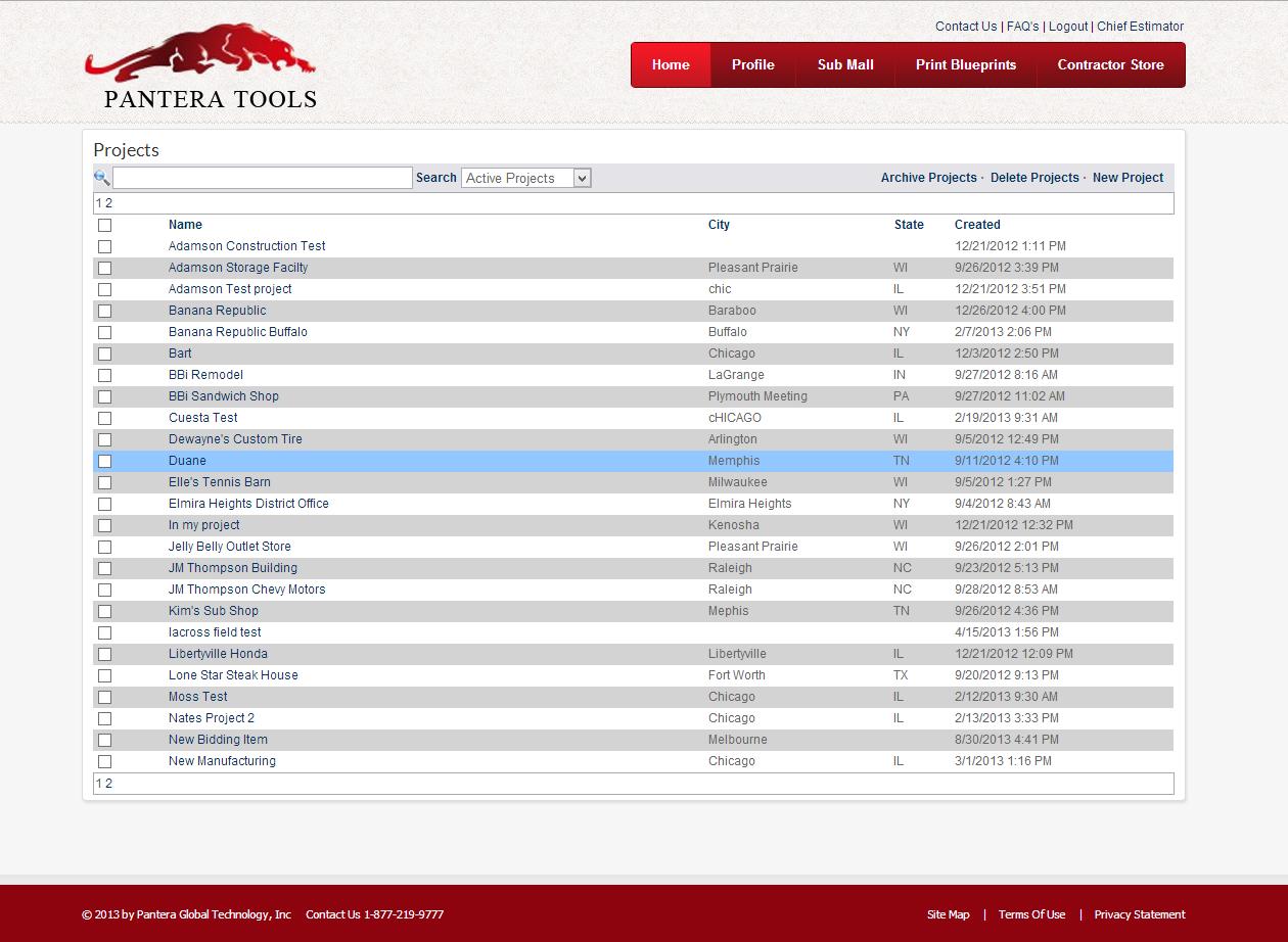 Pantera Tools Software - Project management